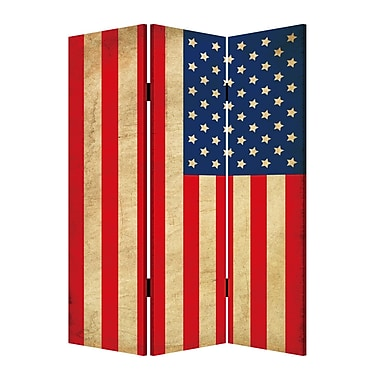 Screen Gems 72'' X 48'' American Flag 3 Panel Room Divider