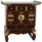 Oriental Furniture Korean 3 Drawer End Table Cabinet