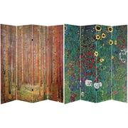 Oriental Furniture 71'' x 63'' Tall Tannenwald / Farm Garden 4 Panel Room Divider