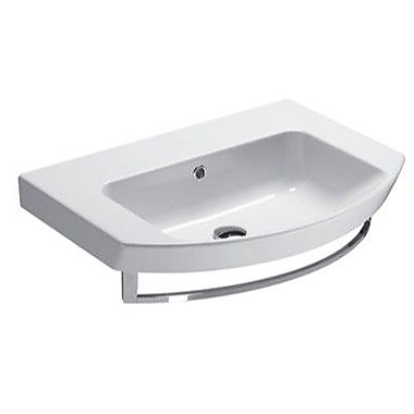 GSI Collection Modo Ceramic Rectangular Drop-In Bathroom Sink w/ Overflow; No Hole