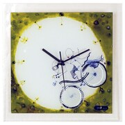 River City Clocks Glass Wall Clock w/ Boy and Girl on Bicycle