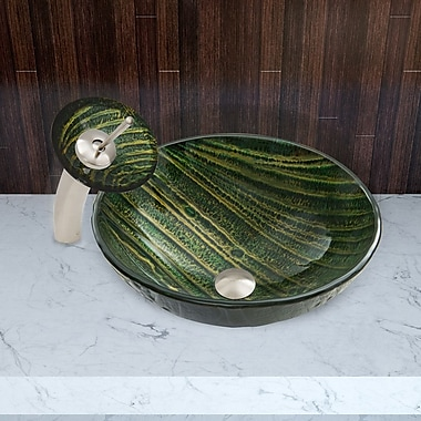 Vigo Glass Vessel Bathroom Sink; Green Asteroid