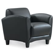 OfficeSource Manhattan Leather Chair; Black
