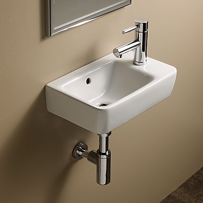 Bissonnet Comprimo Ceramic 16'' Wall Mount Bathroom Sink w/ Overflow