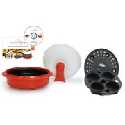 microHearth 4-Piece 1.5 Qt. Microwave Cookware Everyday Pan Set; Red