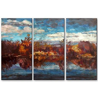 All My Walls 'Autumn Reflection' by Brian Simons 3 Piece Painting Prints Plaque Set