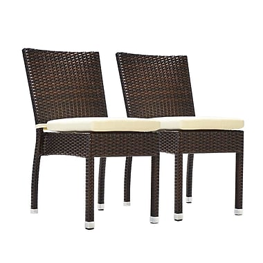 Benasse Jersey Stacking Patio Dining Chair w/ Cushion (Set of 2); Espresso