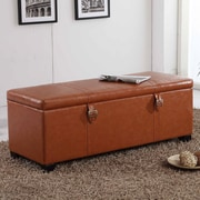 NOYA USA Castillian Upholstered Storage Bench; Tan Brown