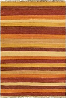 ECARPETGALLERY Fiesta Dark Orange Striped Area Rug
