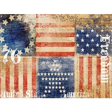 PTM Images Vintage Flag Collage Graphic Art on Wrapped Canvas