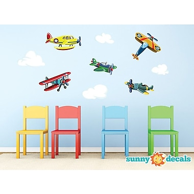 Sunny Decals Vintage Airplane Fabric Wall Decal