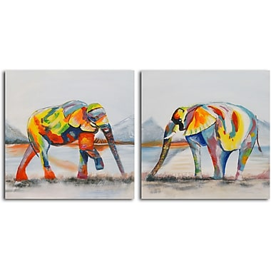 Omax Decor Harlequin of the Herd' 2 Piece Painting on Wrapped Canvas Set