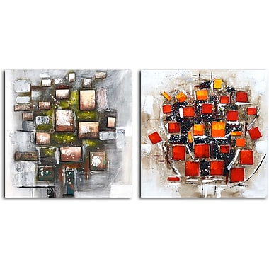 Omax Decor Quadrilateral Vortex' 2 Piece Painting on Canvas Set