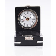 Old Modern Handicrafts Decorative Brass Compass and Clock w/ Wooden Case