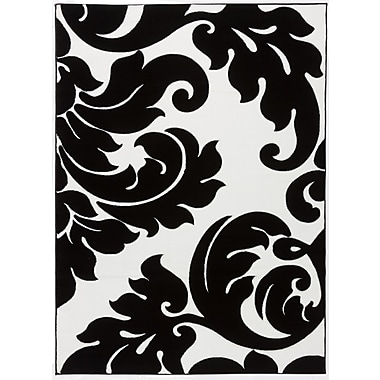 Well Woven Melody Vines Damask Contemporary Black/White Area Rug; 7'10'' x 9'10''