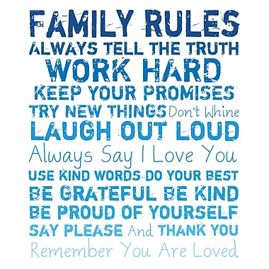 PTM Images Family Rules Textual Art on Canvas; 40'' H x 30'' W x 1.5'' D