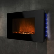 GoldenVantage Piano Black Wall Mount Electric Fireplace