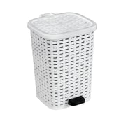 Superior Performance Rattan 1.6 Gallon Step On Trash Can; White
