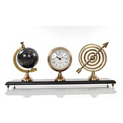 Old Modern Handicrafts Armillery Clock and Globe on Wood Base