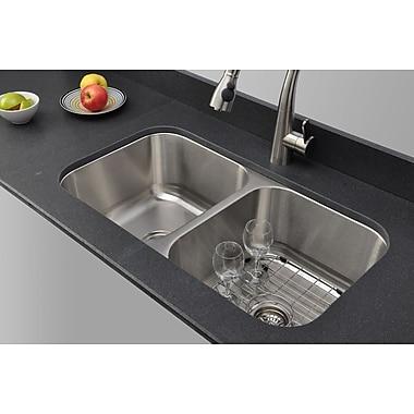 WELLS SINKWARE Craftsmen Series 32.5'' x 18.13'' Double Bowl Kitchen Sink