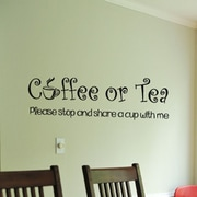 Fox Hill Trading Coffee or Tea Please Share a Cup w/ Me Vinyl Wall Decal; Black