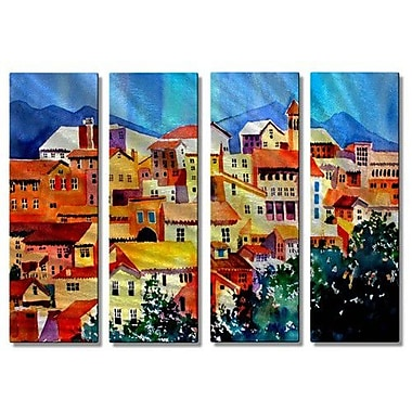 All My Walls 'French' by Richard Graves 4 Piece Painting Print Plaque Set