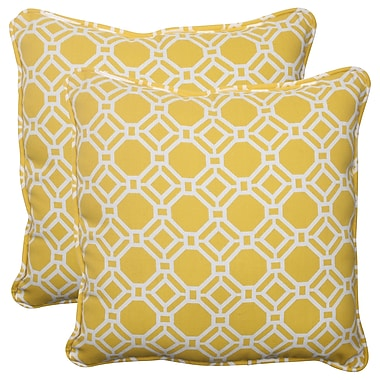 Pillow Perfect Rossmere Corded Indoor/Outdoor Throw Pillow (Set of 2); Yellow / White