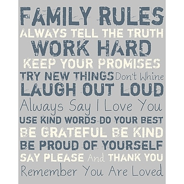 PTM Images Family Rules I Gicl e Textual Art on Wrapped Canvas