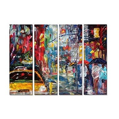 All My Walls 'New York Rain' by Karen Tarlton 4 Piece Painting Print Plaque Set