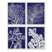 PTM Images Coral Silkscreen 4 Piece Framed Graphic Art Set