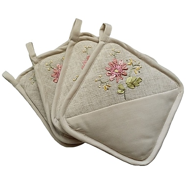 Xia Home Fashions Handmade Ribbon Embroidery Flower w/ Hemstitch Potholder (Set of 4)
