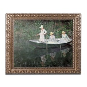 "Trademark Global Claude Monet 'The Boat at Giverny' Ornate Framed Art 16""L x 20""W (BL01179-G1620F)"