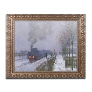 "Trademark Global Monet 'Train In the Snow' 16"" x 20"" Ornate Framed Art (BL01186-G1620F)"