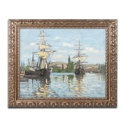 "Trademark Global Monet 'Ships Riding on the Seine' Ornate Art, 16""L x 20""W, Framed (BL01413-G1620F)"