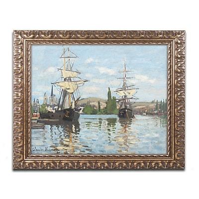 Trademark Global Monet 'Ships Riding on the Seine' Ornate Art, 16