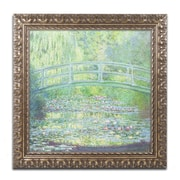 "Trademark Global Monet 'Waterlily Pond-The Bridge II' Ornate Framed Art, 16"" x 16"" (BL0523-G1616F)"
