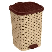 Superior Performance Plastic 6.8 Gallon Step On Trash Can; Beige and Brown