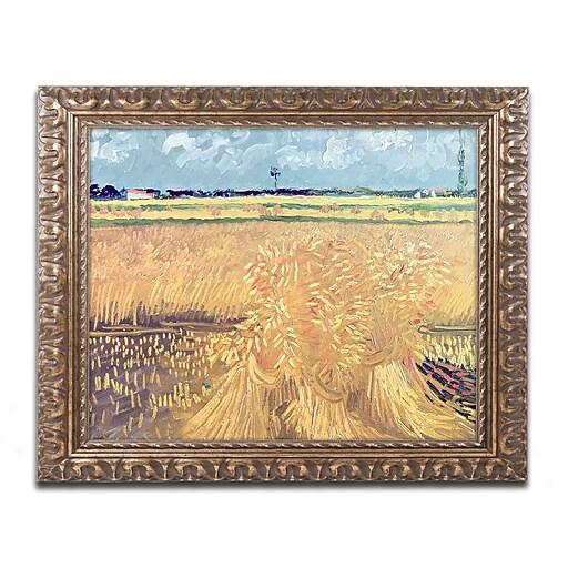 """Trademark Global van Gogh 'Wheatfield with Sheaves 1888' 16"""" x 20"""" Ornate Frame (BL0692-G1620F)"""