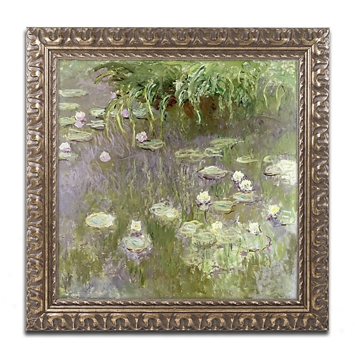 "Trademark Global Monet 'Waterlilies at Midday' 16"" x 16"" Ornate Framed Art (BL0820-G1616F)"