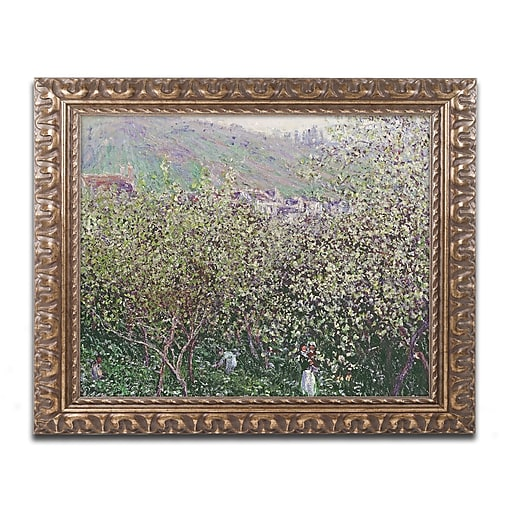 """Trademark Global Monet 'Fruit Pickers' 16"""" x 20"""" Ornate Framed Art (BL0934-G1620F)"""