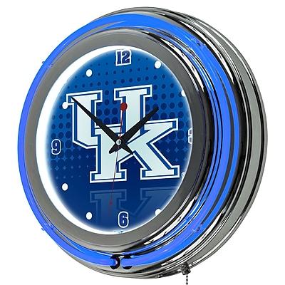 Trademark Global University of Kentucky Double Rung Neon Clock, Reflection Chrome (KY1400-REF)