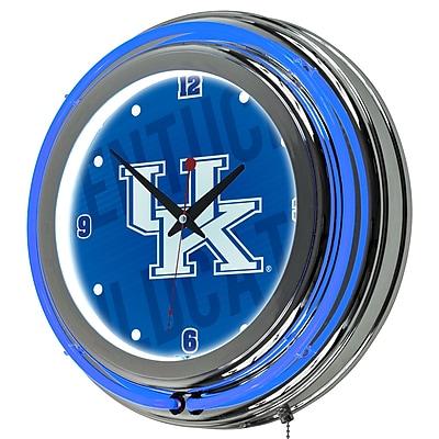 Trademark Global University of Kentucky Chrome Double Rung Neon Clock, Wordmark (KY1400-WM)