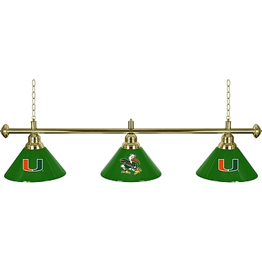 University of Miami 3 Shade Brass Billiard Lamp - Sebastian (MIA603-SEB)