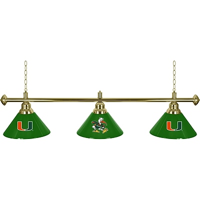 University of Miami 3 Shade Brass Billiard Lamp - Sebastian (MIA603-SEB)