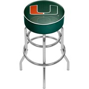 "Trademark Global University of Miami 31"" Chrome Bar Stool with Swivel, Reflection (MIA1000-REF)"