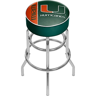 Trademark Global University of Miami Chrome Bar Stool with Swivel, Text, 31