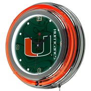 Trademark Global University of Miami Chrome Double Rung Neon Clock, Fade (MIA1400-FADE)