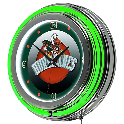 Trademark Global University of Miami Double Rung Neon Clock, Chrome Honeycomb (MIA1400-HC)