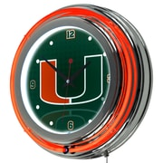 Trademark Global University of Miami Double Rung Neon Clock, Reflections Chrome (MIA1400-REF)
