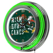 Trademark Global University of Miami Chrome Double Rung Neon Clock, Smoke (MIA1400-SMOKE)